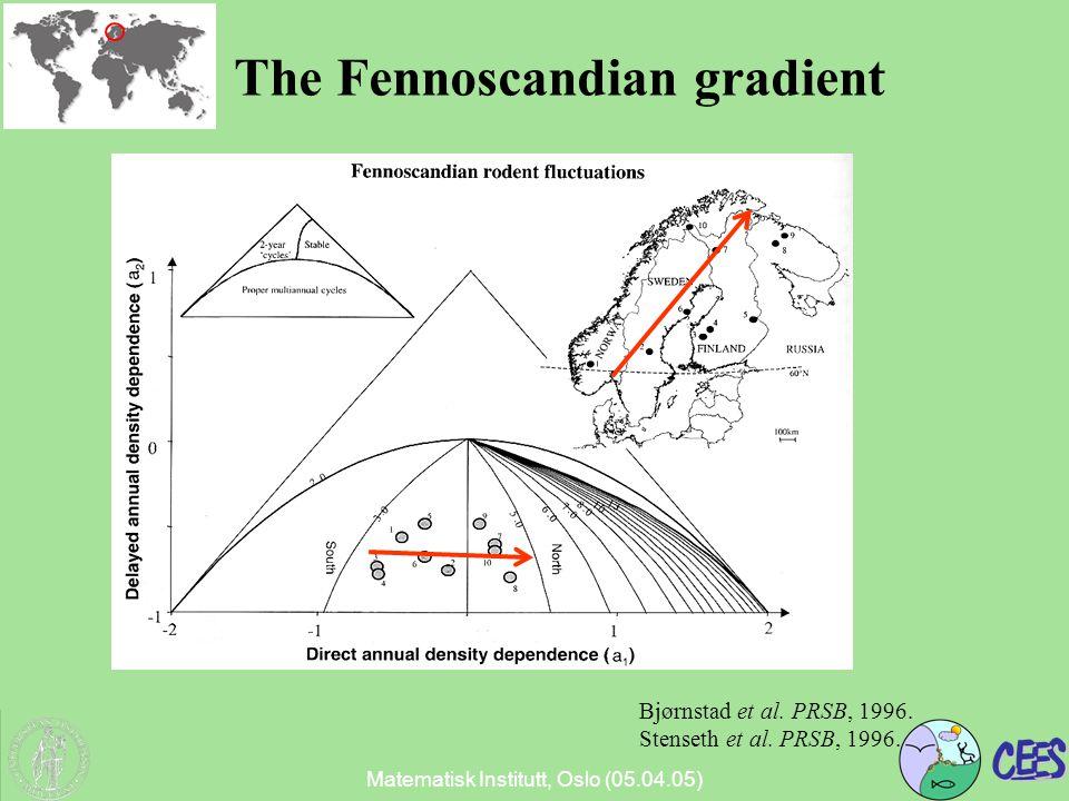 Matematisk Institutt, Oslo (05.04.05) The Fennoscandian gradient Bjørnstad et al.