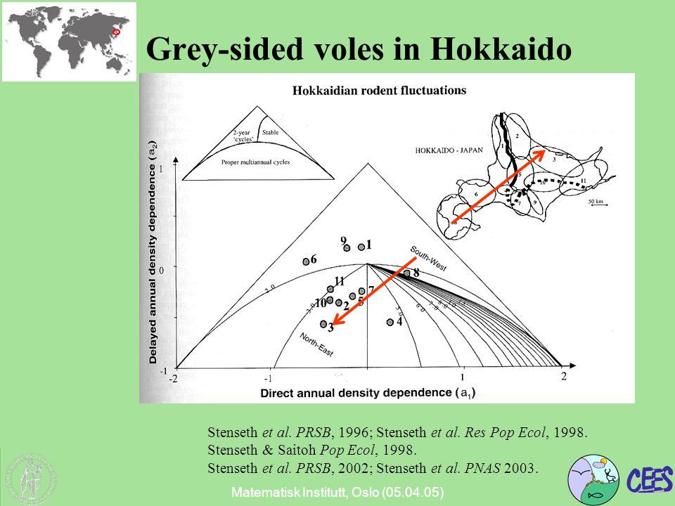 Matematisk Institutt, Oslo (05.04.05) Grey-sided voles in Hokkaido Stenseth et al.