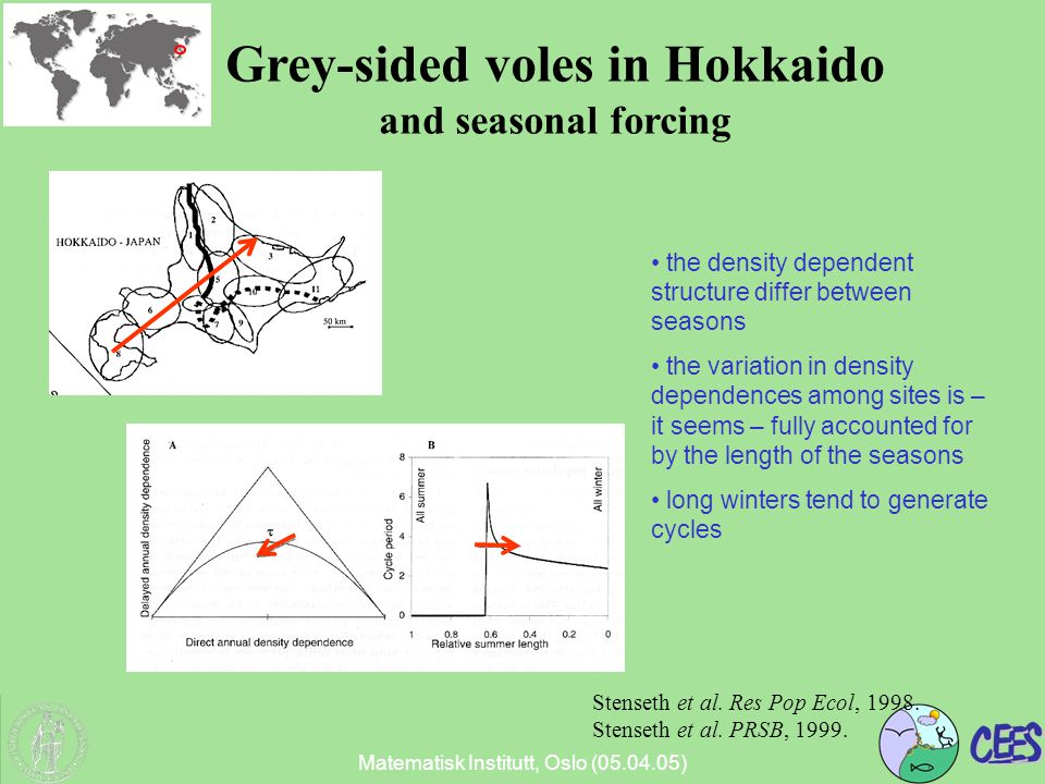 Matematisk Institutt, Oslo (05.04.05) Grey-sided voles in Hokkaido and seasonal forcing Stenseth et al.