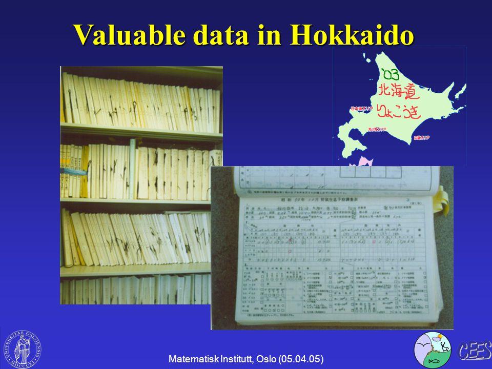 Matematisk Institutt, Oslo (05.04.05) Valuable data in Hokkaido