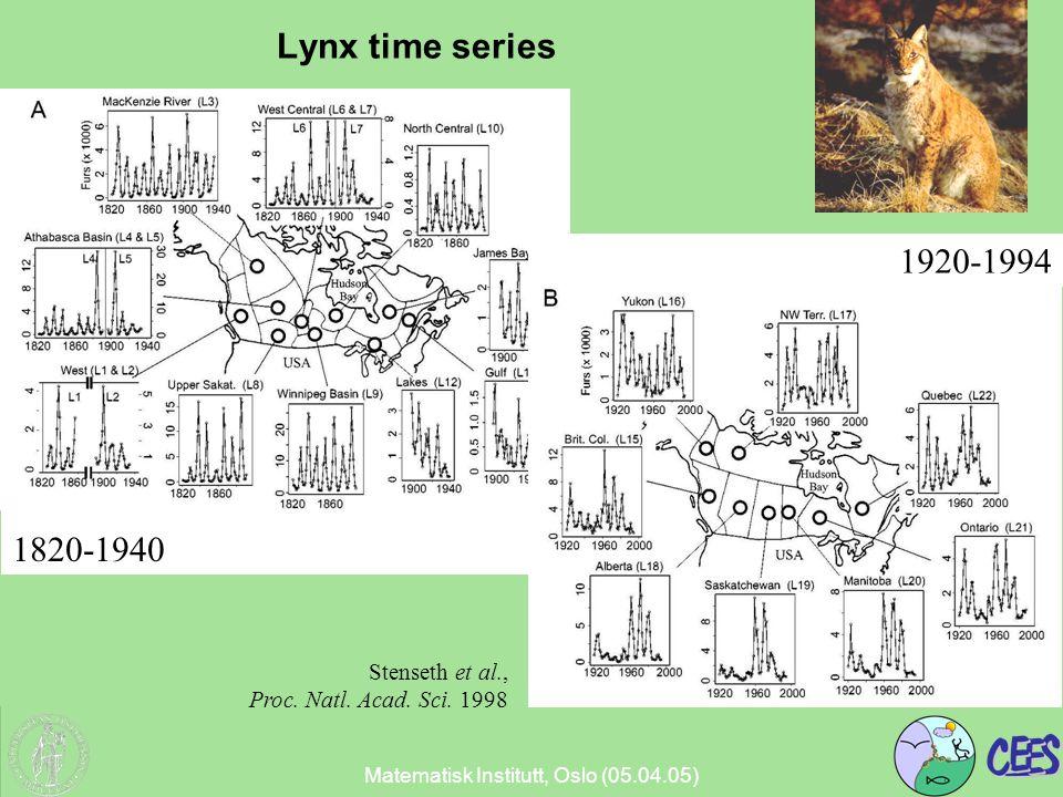 Lynx time series Stenseth et al., Proc. Natl. Acad. Sci. 1998 1820-1940 1920-1994