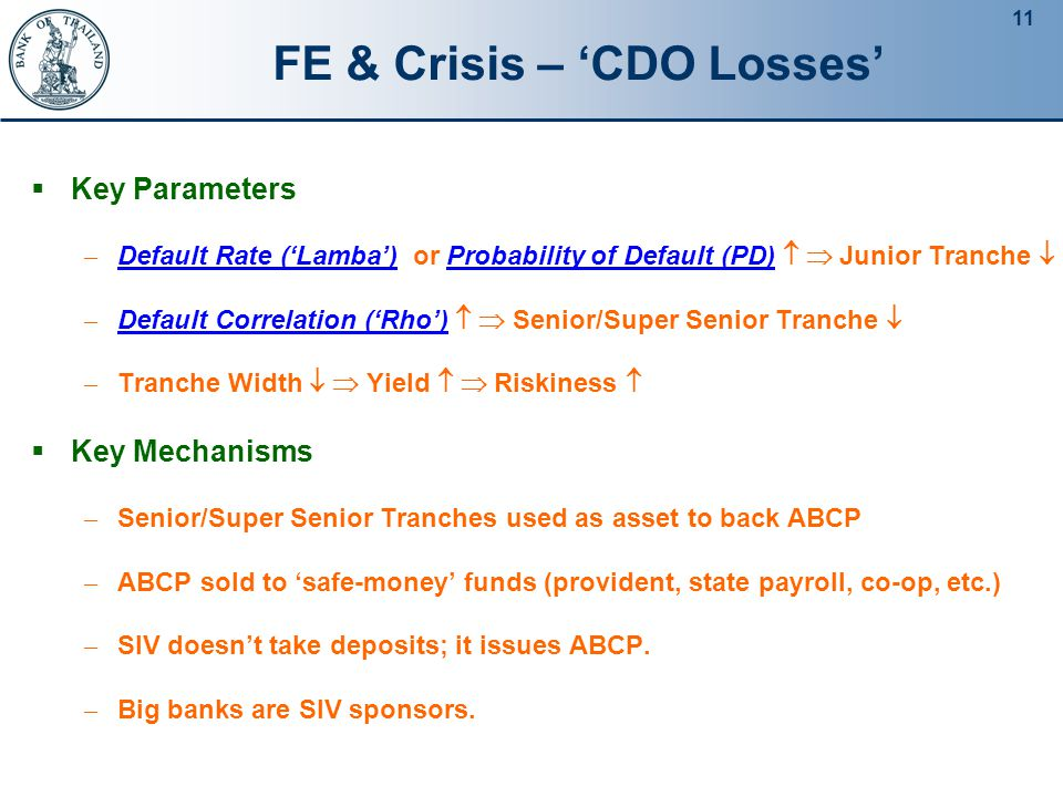 11 FE & Crisis – 'CDO Losses'  Key Parameters – Default Rate ('Lamba')  or Probability of Default (PD)   Junior Tranche  – Default Correlation ('Rho')   Senior/Super Senior Tranche  – Tranche Width   Yield   Riskiness   Key Mechanisms – Senior/Super Senior Tranches used as asset to back ABCP – ABCP sold to 'safe-money' funds (provident, state payroll, co-op, etc.) – SIV doesn't take deposits; it issues ABCP.