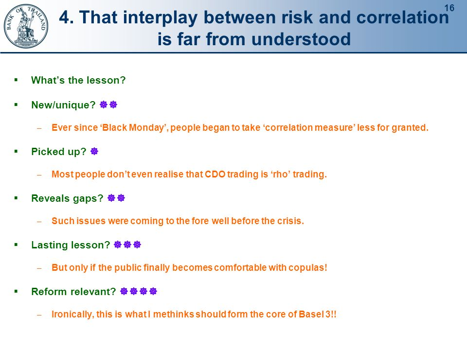 16 4.That interplay between risk and correlation is far from understood  What's the lesson.