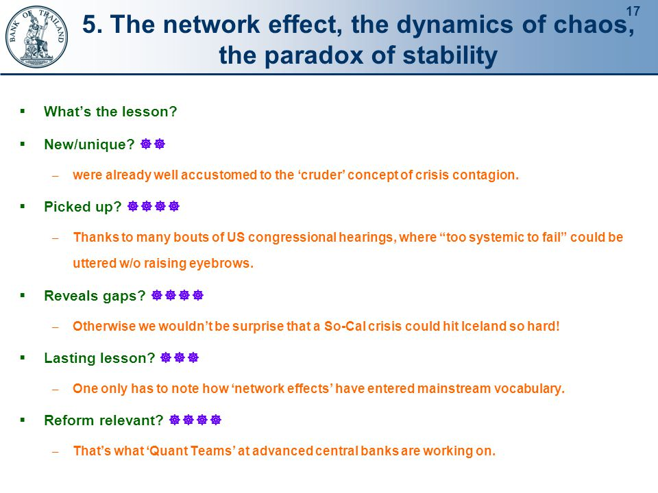 17 5.The network effect, the dynamics of chaos, the paradox of stability  What's the lesson.