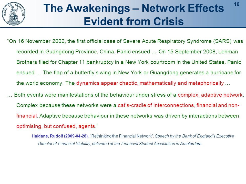 18 The Awakenings – Network Effects Evident from Crisis On 16 November 2002, the first official case of Severe Acute Respiratory Syndrome (SARS) was recorded in Guangdong Province, China.