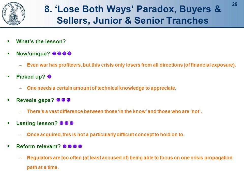 29 8. 'Lose Both Ways' Paradox, Buyers & Sellers, Junior & Senior Tranches  What's the lesson.