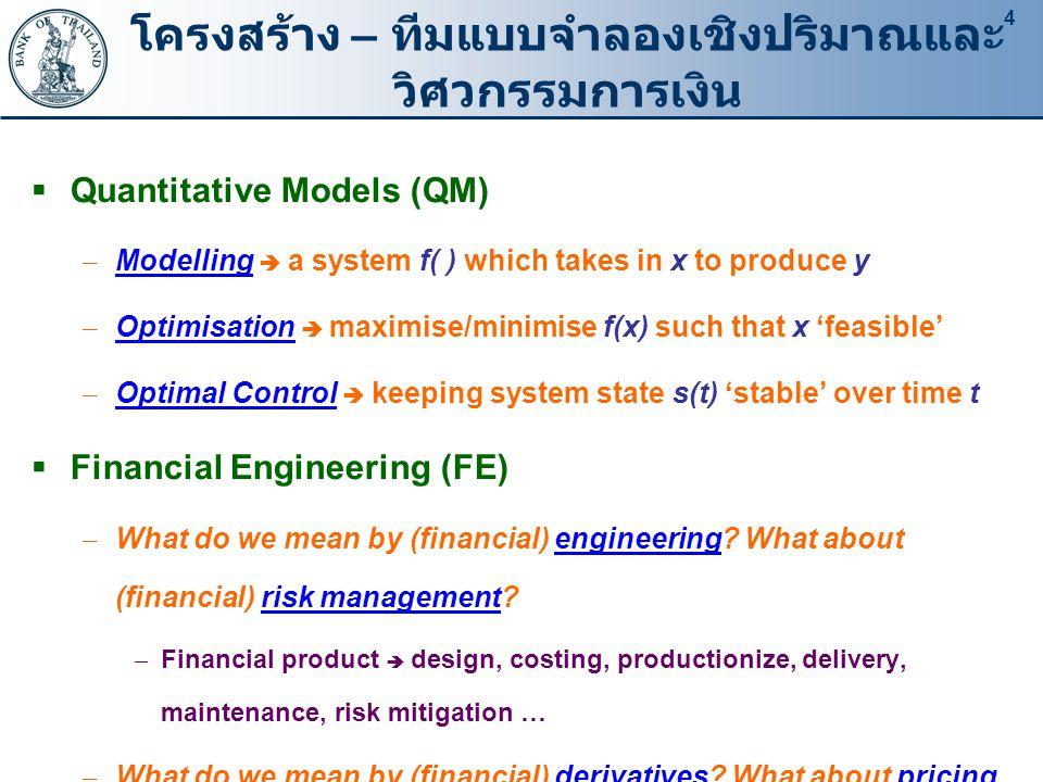 4 โครงสร้าง – ทีมแบบจำลองเชิงปริมาณและ วิศวกรรมการเงิน  Quantitative Models (QM) – Modelling  a system f( ) which takes in x to produce y – Optimisation  maximise/minimise f(x) such that x 'feasible' – Optimal Control  keeping system state s(t) 'stable' over time t  Financial Engineering (FE) – What do we mean by (financial) engineering.