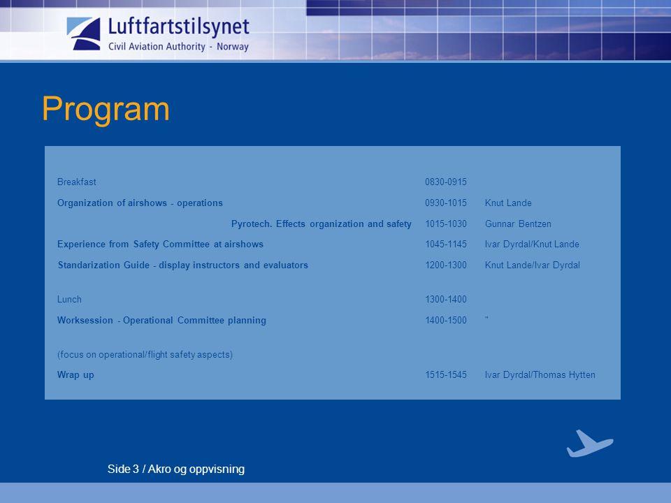 Side 4 / Akro og oppvisning Norwegian Civil Aviation Authority Regulations  BSL F § 2-10 – Akroflyging  BSL F § 2-11 – Formasjonsflyging  BSL D 4-3 – Forskrift om flygeoppvisning  AIC N 13/06 02 mai
