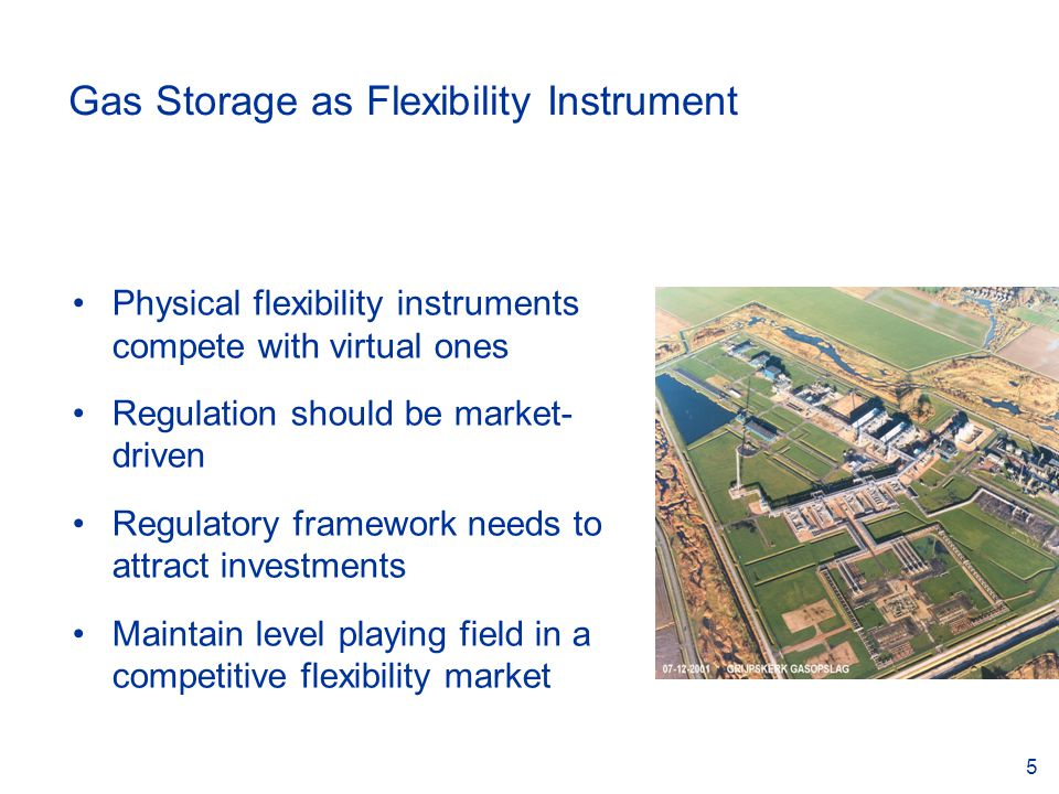 5 Gas Storage as Flexibility Instrument Physical flexibility instruments compete with virtual ones Regulation should be market- driven Regulatory framework needs to attract investments Maintain level playing field in a competitive flexibility market