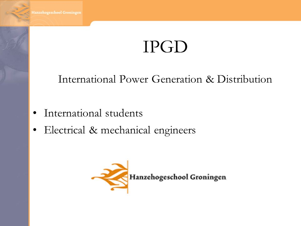 IPGD International Power Generation & Distribution International students Electrical & mechanical engineers