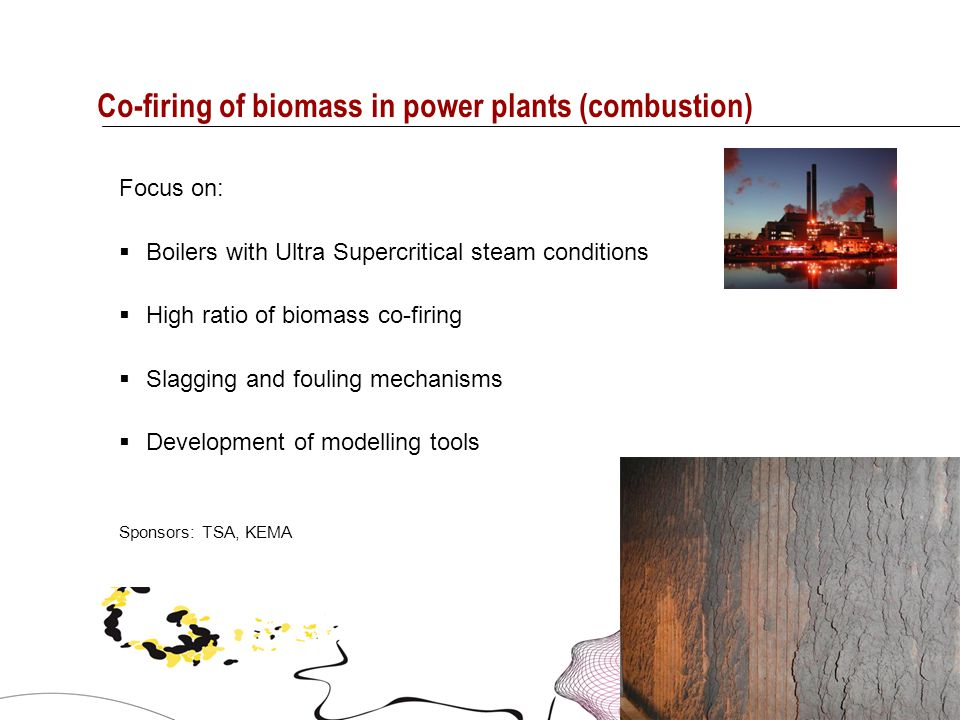 6 Co-firing of biomass in power plants (combustion) Focus on:  Boilers with Ultra Supercritical steam conditions  High ratio of biomass co-firing 