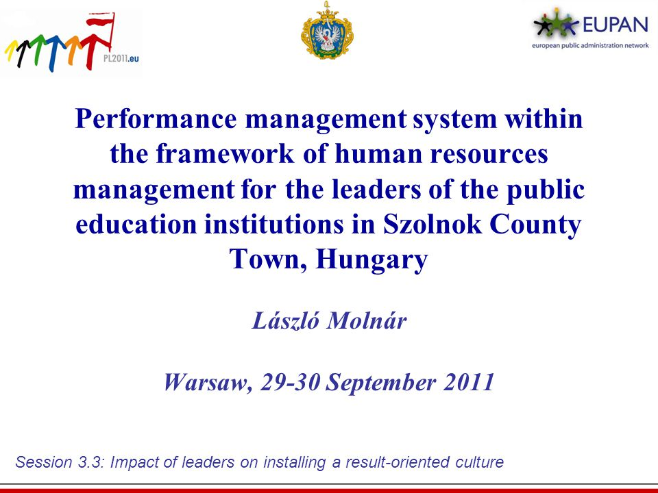 HR methods in support of improved performance of institution leaders