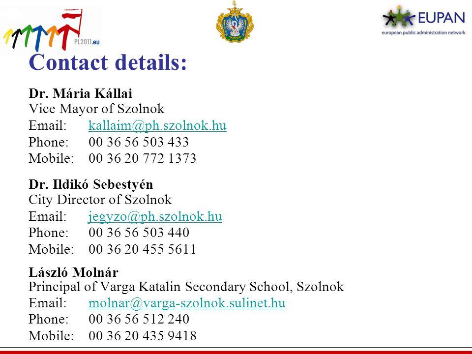 Contact details: Dr.