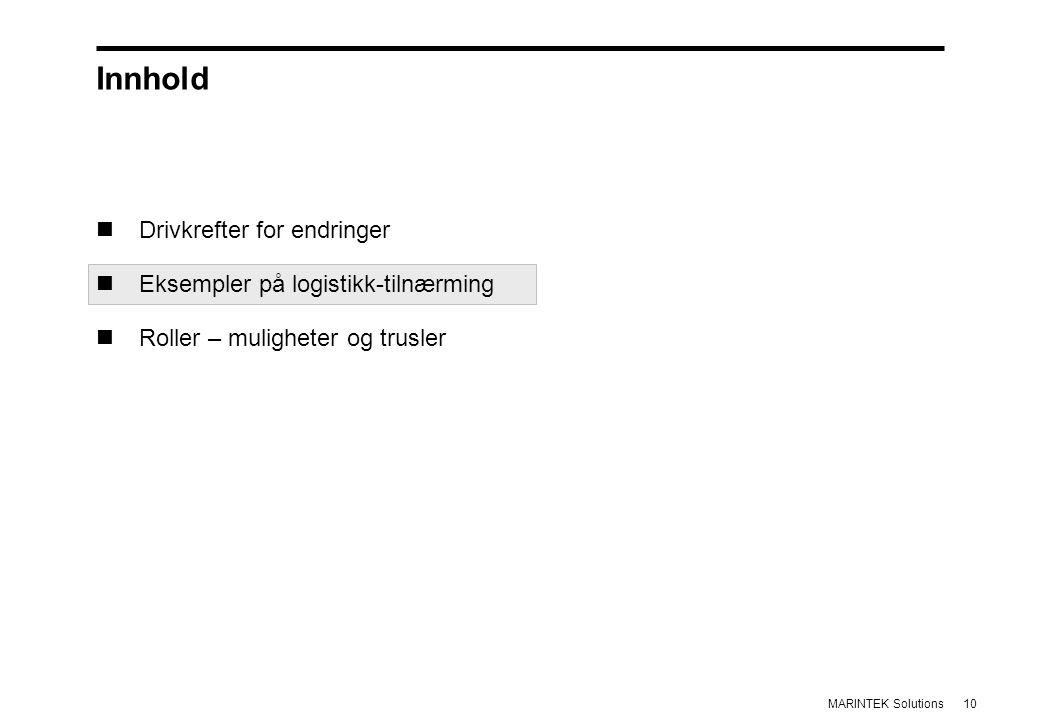 10MARINTEK Solutions Innhold Drivkrefter for endringer Eksempler på logistikk-tilnærming Roller – muligheter og trusler