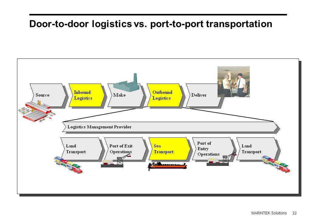22MARINTEK Solutions Door-to-door logistics vs.