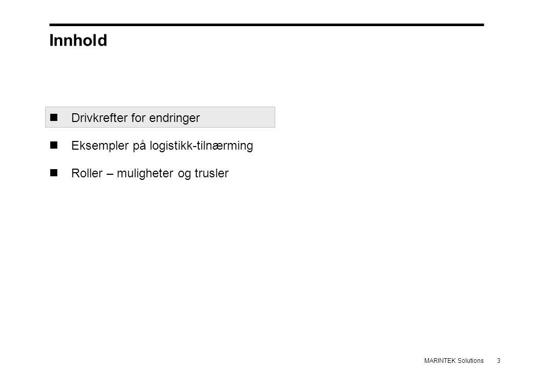 3MARINTEK Solutions Innhold Drivkrefter for endringer Eksempler på logistikk-tilnærming Roller – muligheter og trusler