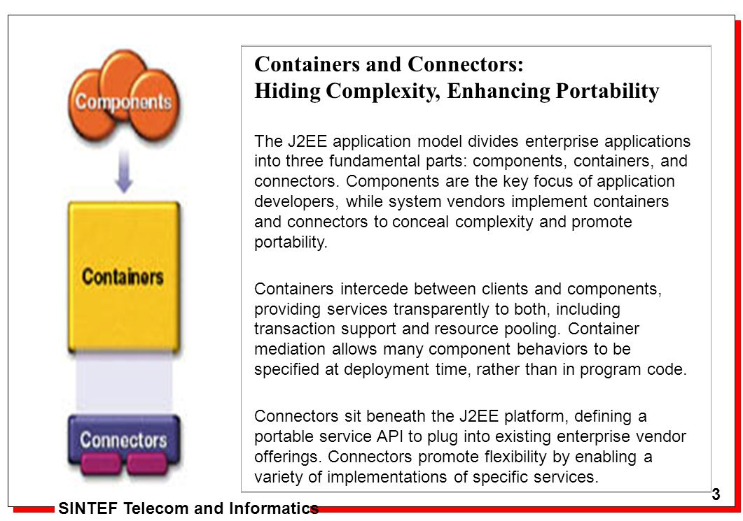 3 Arne J. Berre 3 SINTEF Telecom and Informatics Containers and Connectors: Hiding Complexity, Enhancing Portability The J2EE application model divide