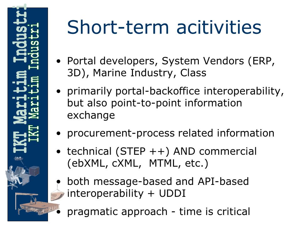 Short-term acitivities Portal developers, System Vendors (ERP, 3D), Marine Industry, Class primarily portal-backoffice interoperability, but also point-to-point information exchange procurement-process related information technical (STEP ++) AND commercial (ebXML, cXML, MTML, etc.) both message-based and API-based interoperability + UDDI pragmatic approach - time is critical
