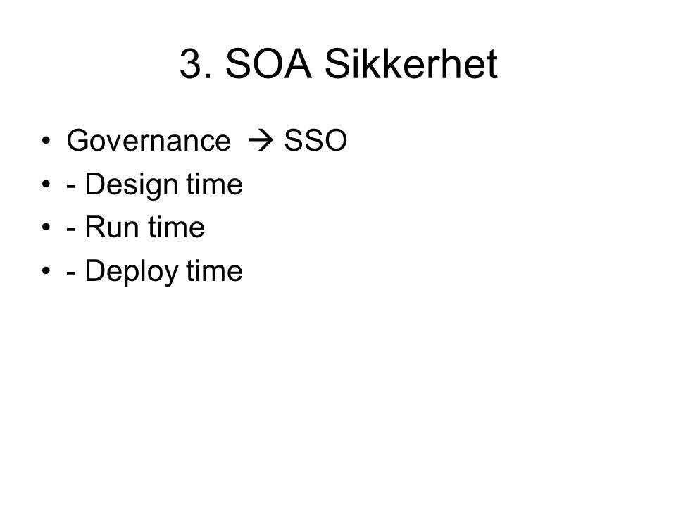 3. SOA Sikkerhet Governance  SSO - Design time - Run time - Deploy time