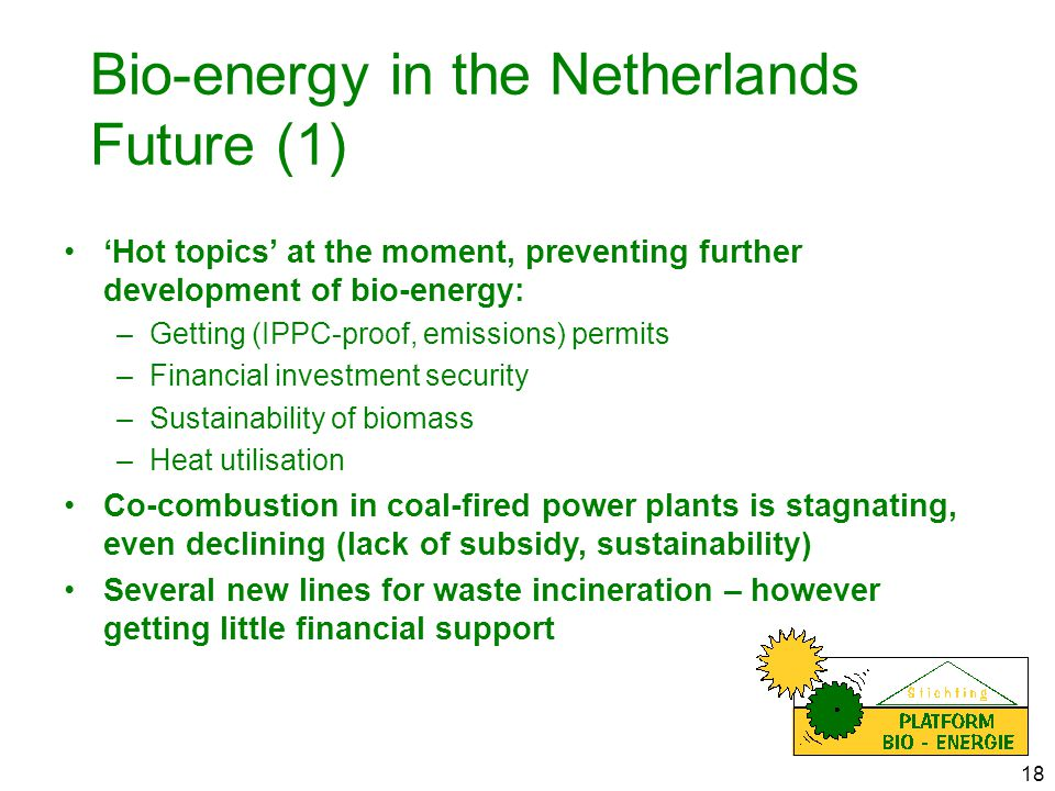 18 Bio-energy in the Netherlands Future (1) 'Hot topics' at the moment, preventing further development of bio-energy: –Getting (IPPC-proof, emissions) permits –Financial investment security –Sustainability of biomass –Heat utilisation Co-combustion in coal-fired power plants is stagnating, even declining (lack of subsidy, sustainability) Several new lines for waste incineration – however getting little financial support