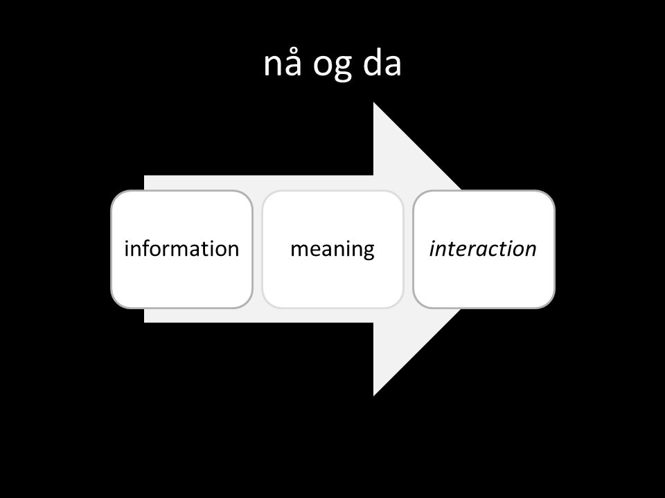 nå og da informationmeaninginteraction
