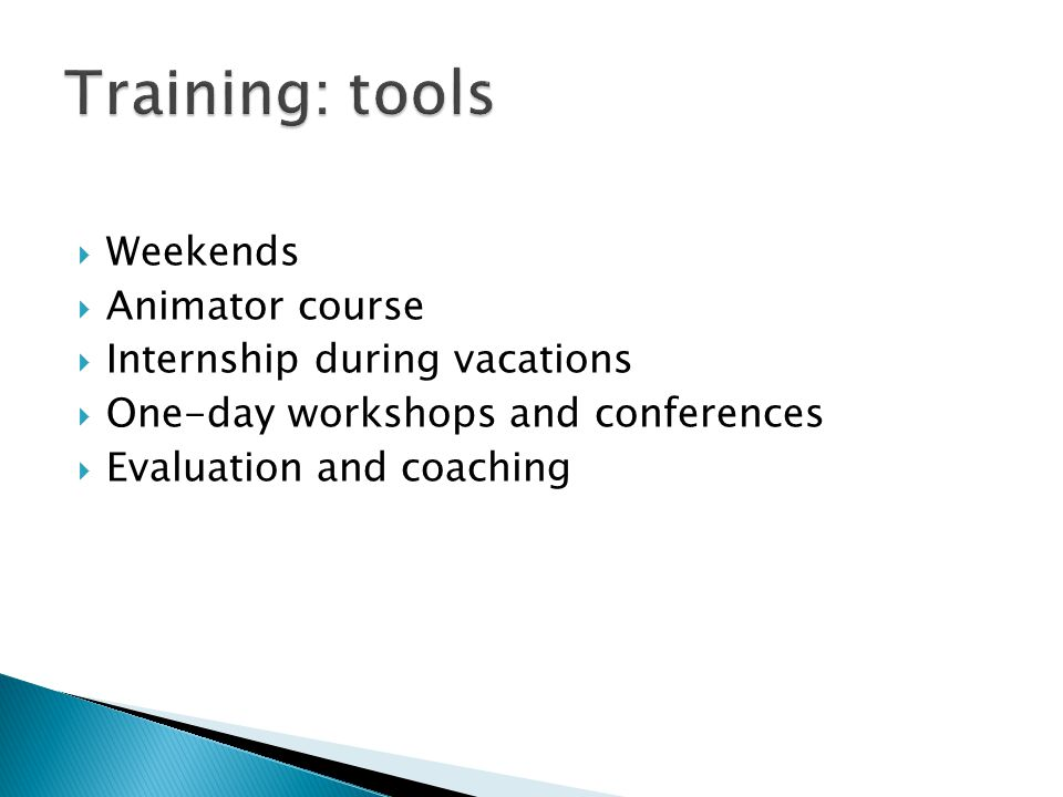  Weekends  Animator course  Internship during vacations  One-day workshops and conferences  Evaluation and coaching
