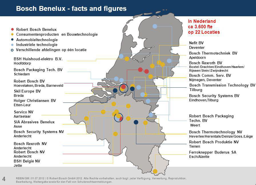 4 44 Bosch Benelux - facts and figures RBBN/GM | 01.07.2012 | © Robert Bosch GmbH 2012.