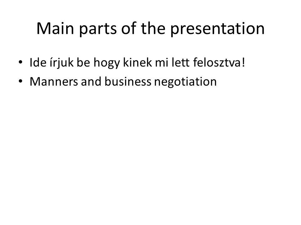 Main parts of the presentation Ide írjuk be hogy kinek mi lett felosztva.
