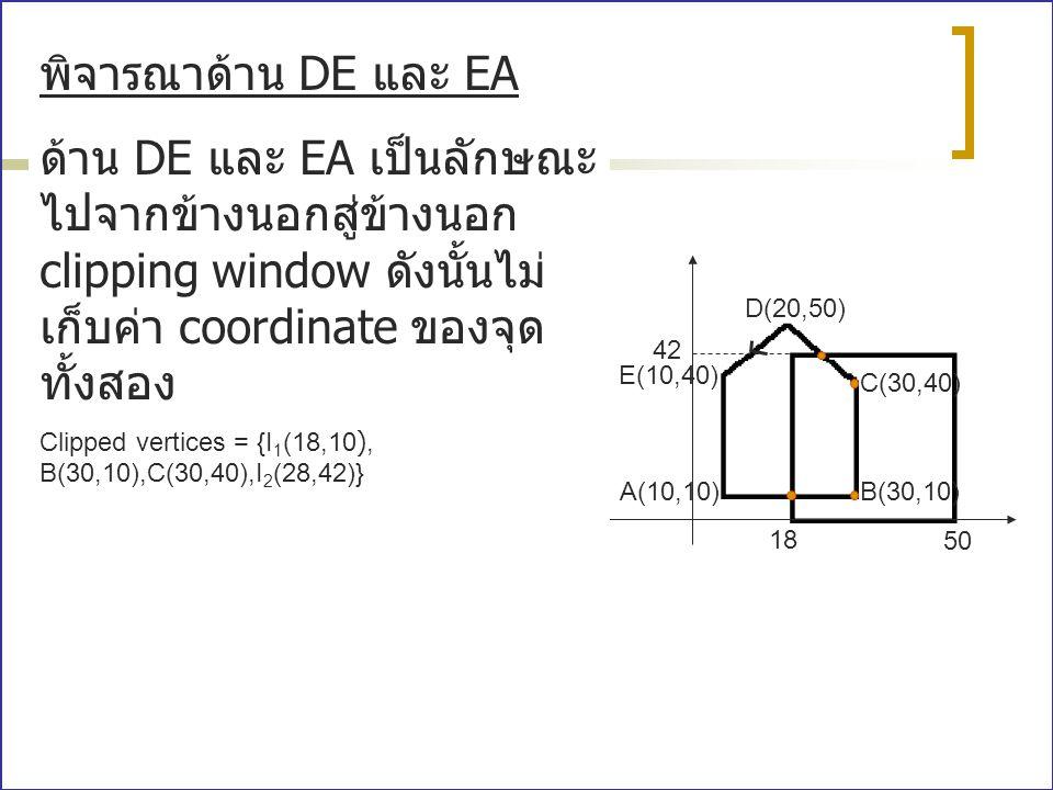 A(10,10)B(30,10) C(30,40) E(10,40) D(20,50) 18 50 42 พิจารณาด้าน DE และ EA ด้าน DE และ EA เป็นลักษณะ ไปจากข้างนอกสู่ข้างนอก clipping window ดังนั้นไม่