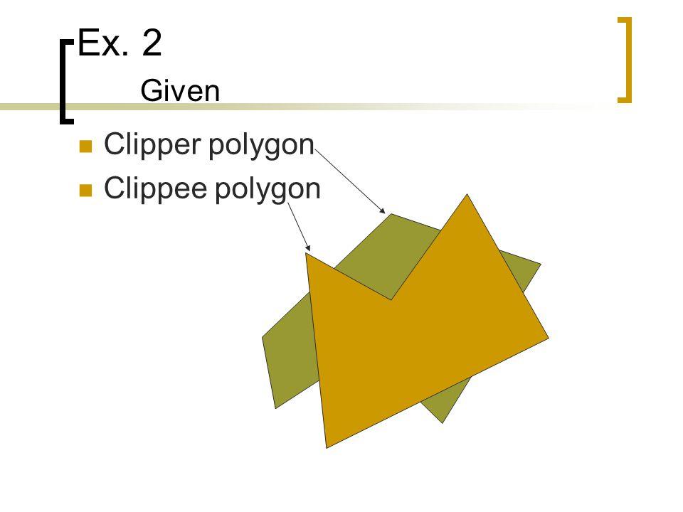 Ex. 2 Given Clipper polygon Clippee polygon