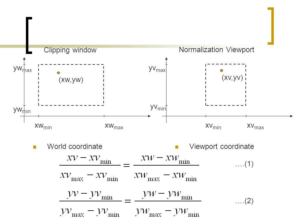 Clipping window xw max xw min yw min yw max World coordinate Normalization Viewport xv max xv min yv min yv max Viewport coordinate (xw,yw) (xv,yv) ….