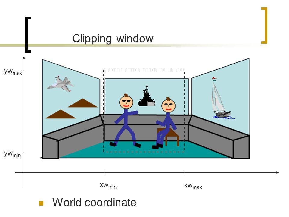Clipping window xw max xw min yw min yw max World coordinate