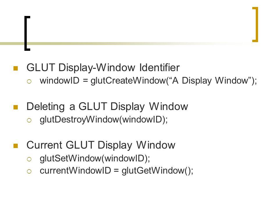 "GLUT Display-Window Identifier  windowID = glutCreateWindow(""A Display Window""); Deleting a GLUT Display Window  glutDestroyWindow(windowID); Curren"