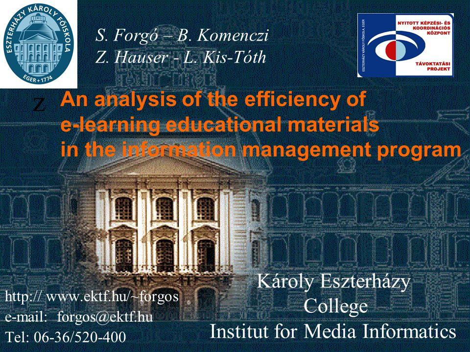 Károly Eszterházy College Institut for Media Informatics z S.