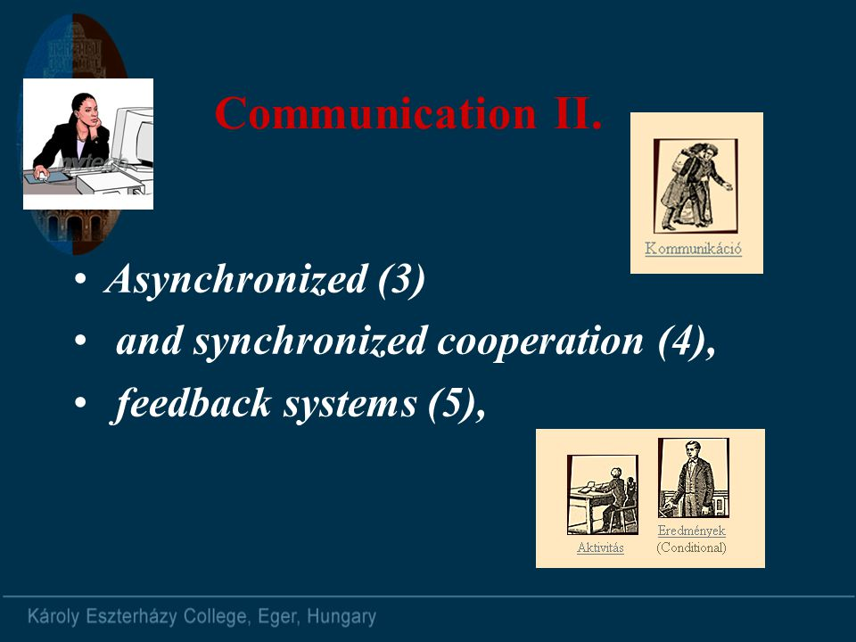 Communication II. Asynchronized (3) and synchronized cooperation (4), feedback systems (5),