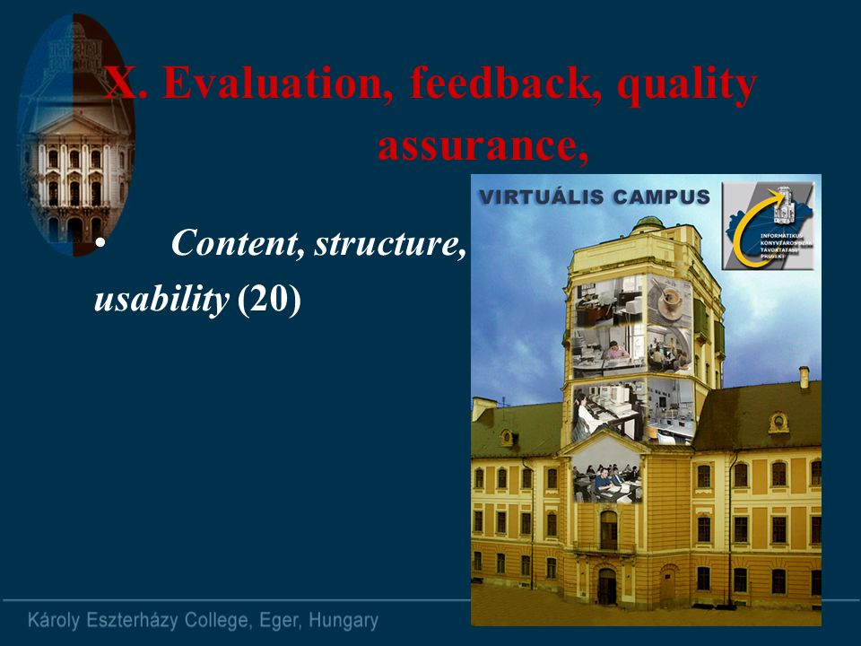 X. Evaluation, feedback, quality assurance, Content, structure, usability (20)