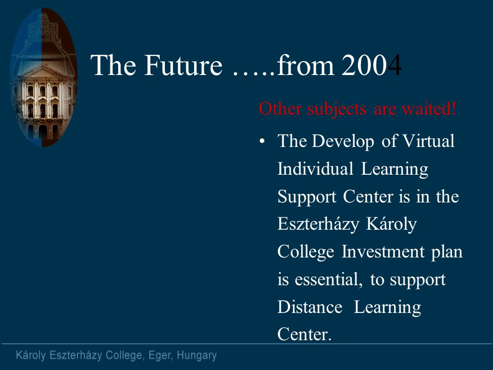 The Future …..from 2004 Other subjects are waited! The Develop of Virtual Individual Learning Support Center is in the Eszterházy Károly College Inves