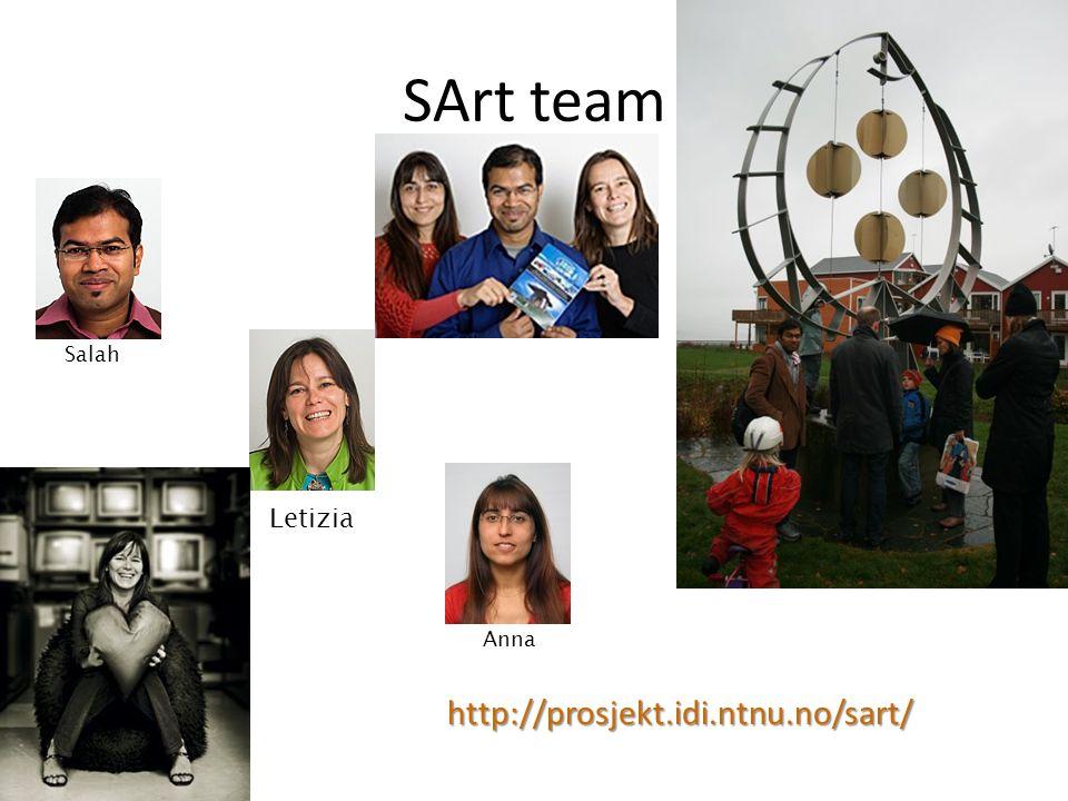 SArt team http://prosjekt.idi.ntnu.no/sart/ Salah Letizia Anna