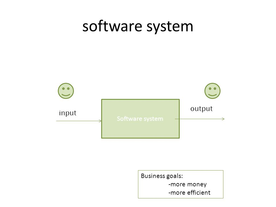 software system Business goals: -more money -more efficient Software system input output