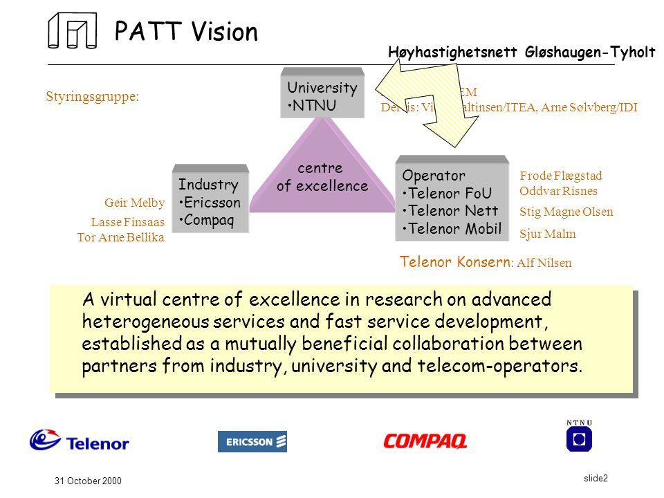 31 October 2000 slide2 PATT Vision A virtual centre of excellence in research on advanced heterogeneous services and fast service development, established as a mutually beneficial collaboration between partners from industry, university and telecom-operators.