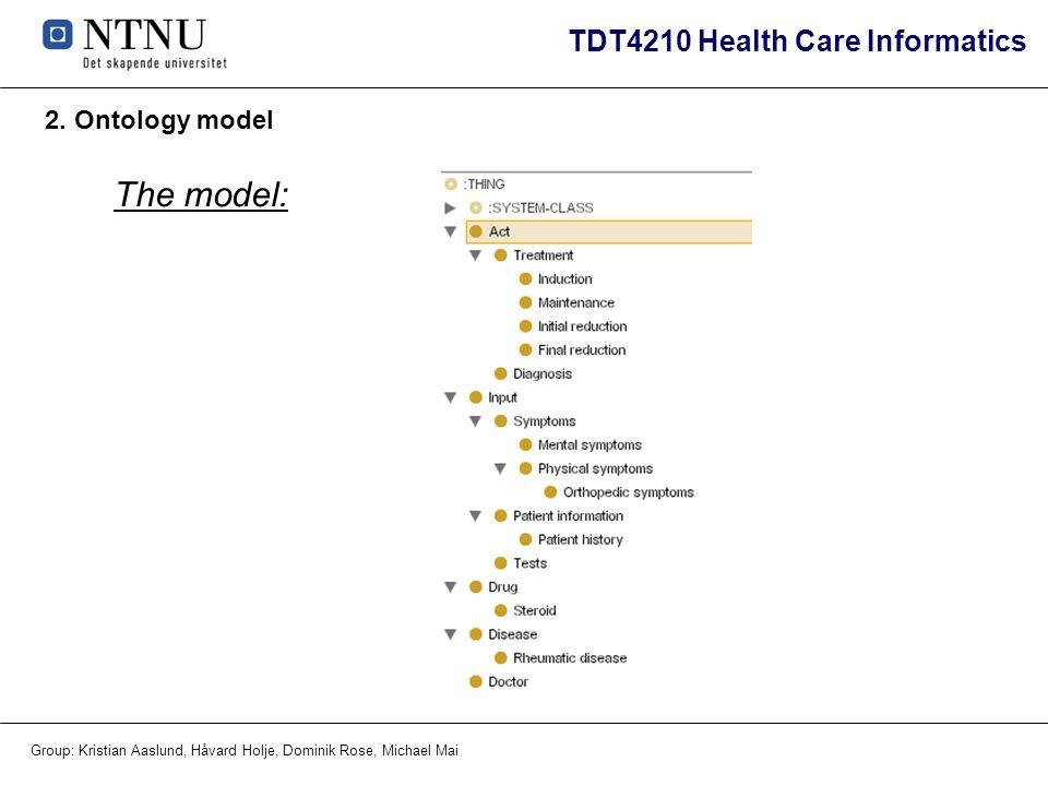 TDT4210 Health Care Informatics Group: Kristian Aaslund, Håvard Holje, Dominik Rose, Michael Mai 2. Ontology model The model:
