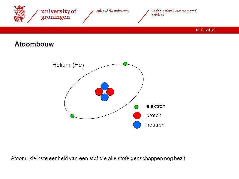   office of the university health, safety & environmental services 18-10-2012 Atoom: kleinste eenheid van een stof die alle stofeigenschappen nog bezi
