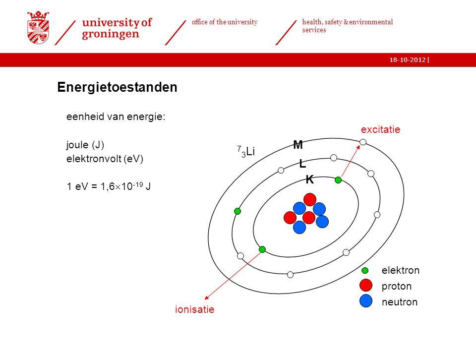   office of the university health, safety & environmental services 18-10-2012 4  Energietoestanden eenheid van energie: joule (J) elektronvolt (eV) 1