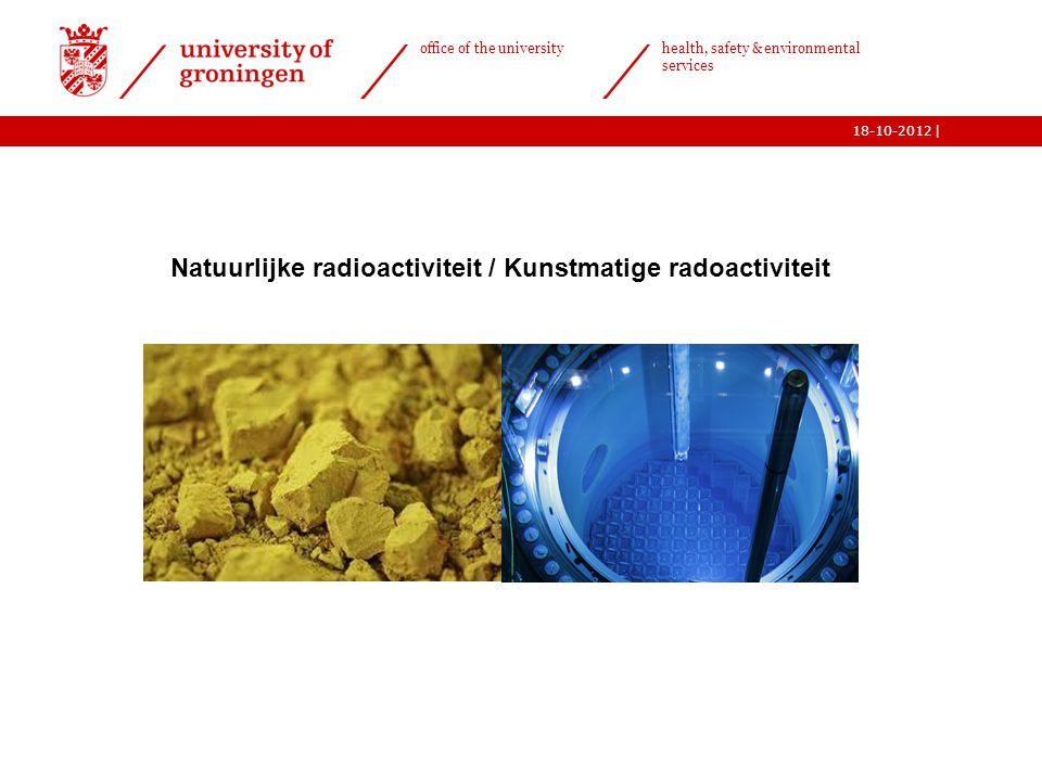  office of the university health, safety & environmental services 18-10-2012 6 Natuurlijke radioactiviteit / Kunstmatige radoactiviteit