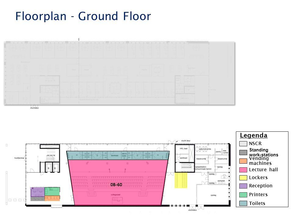 Faculteit der Rechtsgeleerdheid Floorplan - Ground Floor Legenda 0B-60 Standing work-stations Lecture hall Printers Reception Toilets NSCR Vending machines Lockers