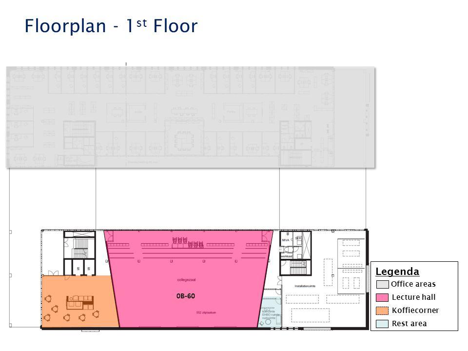 Faculteit der Rechtsgeleerdheid Floorplan - 1 st Floor Legenda Lecture hall Koffiecorner Rest area Office areas 0B-60