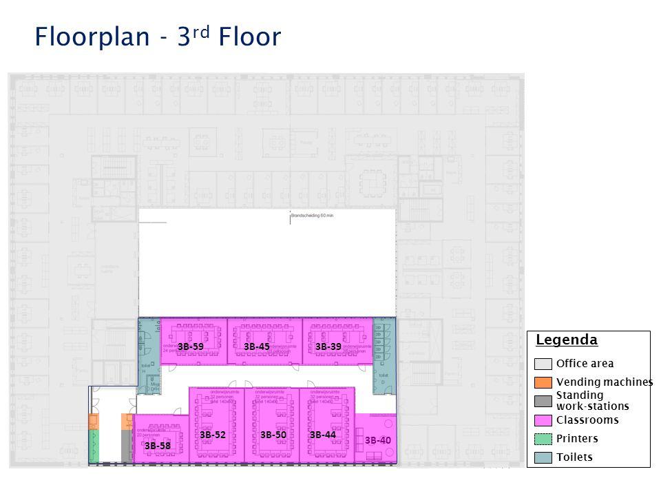 Faculteit der Rechtsgeleerdheid Floorplan - 3 rd Floor 3B-58 3B-40 3B-503B-443B-52 3B-453B-393B-59 Legenda Classrooms Printers Standing work-stations Office area Toilets Vending machines