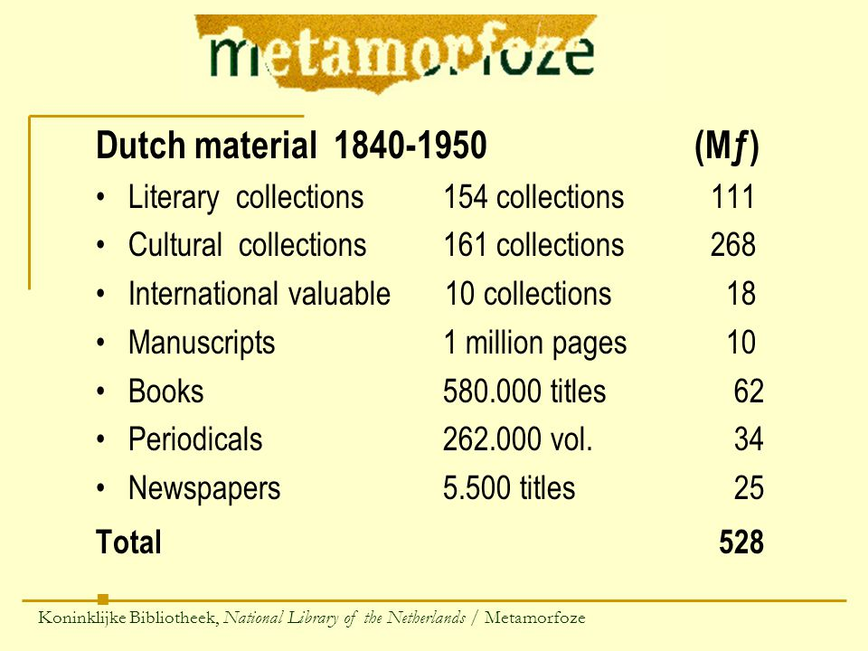 Dutch material 1840-1950 (Mƒ) Literary collections154 collections 111 Cultural collections161 collections 268 International valuable 10 collections 18 Manuscripts1 million pages 10 Books580.000 titles 62 Periodicals262.000 vol.