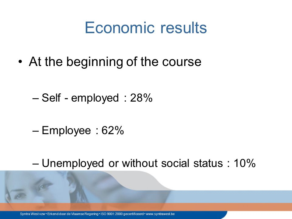 Syntra West vzw Erkend door de Vlaamse Regering ISO 9001:2000 gecertificeerd www.syntrawest.be Economic results At the beginning of the course –Self - employed : 28% –Employee : 62% –Unemployed or without social status : 10%