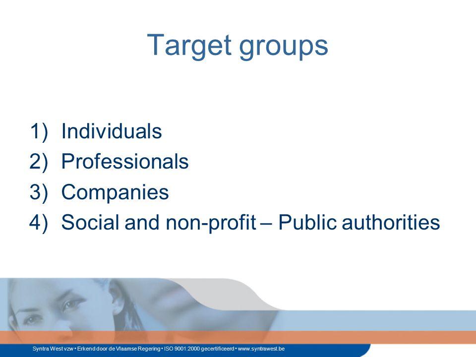 Syntra West vzw Erkend door de Vlaamse Regering ISO 9001:2000 gecertificeerd www.syntrawest.be Target groups 1)Individuals 2)Professionals 3)Companies 4)Social and non-profit – Public authorities